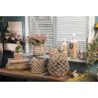 田园风手工编织麻绳工艺品透明玻璃花瓶家居摆饰花瓶生日礼品批发