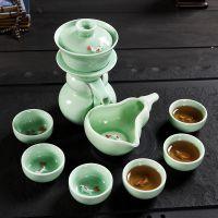 高级青瓷小鱼自动功夫茶具套装家用陶瓷懒人冲茶器个性小鱼茶杯
