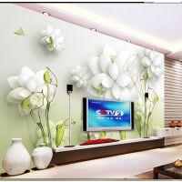 客厅简约电视机背景墙 现代中式3D立体影视墙瓷砖  手绘马蹄莲