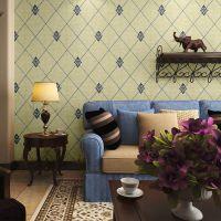 包邮3d现代简约欧式菱形格子软包无纺布客厅卧室电视墙背景墙壁纸