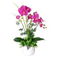 蝴蝶兰仿真花客厅摆件花电视柜假花室内塑料花餐桌花艺盆栽装饰