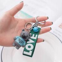 DY-161站姿小熊钥匙扣圈塑料小熊儿童玩具小礼品赠品挂链配绳饰品