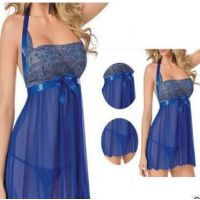 欧美外贸蕾丝吊带情趣睡衣裙透明薄纱蝴蝶结绣花情趣内衣新款