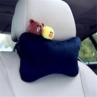 新款冬季可爱卡通绒汽车头枕 卡通车载车用靠垫护颈枕骨头枕批发