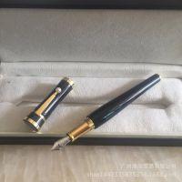 大文豪格丽泰嘉宝珍珠 纯黑金夹钢笔办公文具墨水笔