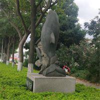 惠安厂家定制石雕海豚 定制雕塑青石海豚各种海洋动物工艺品