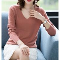 2018广西秋季新品女 纯色V领百搭女式全羊毛针织衫 打底羊毛毛衣女批发
