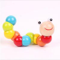厂家直销木制彩色百变扭扭虫动物玩偶毛毛虫儿童益智玩具批发