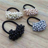 韩国串珠水晶珍珠发圈韩版橡皮筋扎头发绳头花头绳百搭头饰发饰品