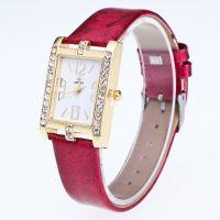 手表女款时尚潮流女士石英表方形皮带复古休闲气质镶钻女表金