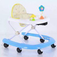 婴儿童学步车6/7-18个月宝宝防侧翻多功能U型学行车可折叠带音乐