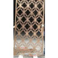 铜板雕刻隔断铝雕花玫瑰金屏风酒店镂空铝艺屏风