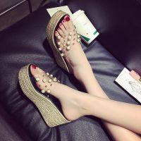 凉鞋厚底女夏松糕底拖鞋坡跟高跟新款一字拖简约透明珍珠高跟女鞋