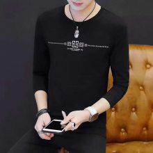 贵州哪里有秋冬季长袖服装批发 网上供应纯棉长袖T恤衫韩版男装印花T恤衫批发