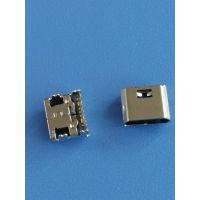 B型 MICRO 板上型母座 7P 大电流 90度四脚插板DIP+SMT短针 破板式 直边 黑色胶芯