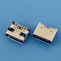 充电TYPE-C母座/6PIN/四脚插板SMT/带凸包/USB 3.1/前插后贴
