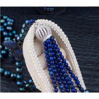 DIY配件 皇冠帽头款流苏扣 搭配多排天然小珍珠项坠隔扣