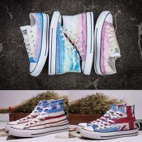 Convers 天空之城日落印花英国美国国旗高低帮男女帆布鞋板鞋