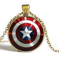 欧美电影周边 漫威英雄美国队长五角星盾牌时光宝石吊坠项链批发