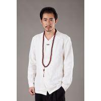 2018秋季新款商务男士休闲棉麻纯色中式长袖青年男式衬衫衬衣#124 接单来样生产