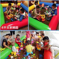 亲子乐园充气沙池厂家 摆地摊的儿童玩具沙滩池在哪订 游乐场简易四色沙滩池套装