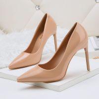 9172-2韩版时尚尖头浅口高跟鞋夜店性感女单鞋细跟漆皮职业OL女鞋