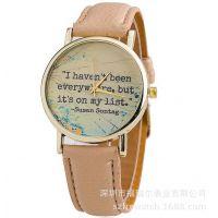 厂家定制 外贸 黑色皮带手表 男女士真皮手表  可定制表盘和颜色