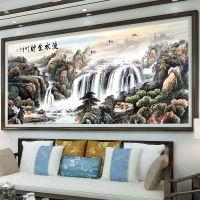 一件代发流水生财十字绣线绣新款2018大幅客厅中国风景刺绣字画山