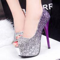 313-111时尚韩版亮片渐变婚鞋超高跟防水台细跟高跟鞋单鞋女鞋