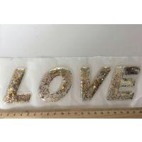 字母LOVE珠片PVCTPU环保汽泡热转印烫钻烫图立体布贴片儿童服装补丁水钻辅料定制生产