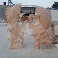 石雕晚霞红鲤鱼雕刻 园林景观雕塑 石雕流水鱼喷泉 厂家直销定做