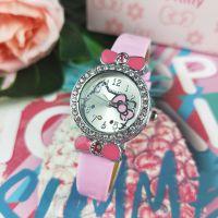 Hello Kitty凯蒂镶点钻皮革手表腕表Kkt儿童表时装表(厂家直销)