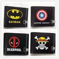 皮革钱夹款 欧美动漫漫威系列 蝙蝠侠 美国队长 死侍短款二折钱包