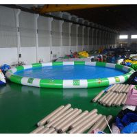 户外夏季水池设备工厂直销 大型100平米充气水池报价 户外手摇船水池娱乐设施