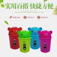 厂家直销 可爱卡通简约家用卧式客厅厨房收纳清洁桶带盖垃圾桶
