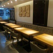 湛江日式料理店寿司店靠墙卡座沙发桌子椅子定做直销