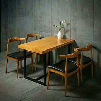 西安厂家直销复古仿实木铁艺牛角椅奶茶店甜品店咖啡厅西餐厅快餐桌椅组合 60*60单桌