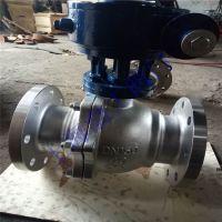 Q341F-40P 高温蒸汽石油导热油燃气天然气不锈钢涡轮法兰球阀DN50