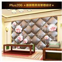 无缝墙纸壁画卧室高档立体银色软包花纹3D电视背景墙装饰画