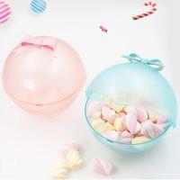 厂家直销定制图案 礼品化妆收纳糖果盒 蝴蝶结波波储物盒(透明)