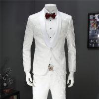 男士白色休闲西装两件套韩版修身花西服套装结婚宴会主持人礼服