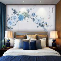 定制新中式手绘工笔花鸟壁画国画牡丹无缝墙布花开富贵壁纸背景布