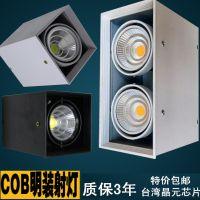 单头cob明装射灯led双头筒灯5w7w10w12w15W20W免开孔天花灯吸顶式