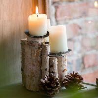 定做原生态木烛台风灯灯笼ZAKKA装饰原木白桦树皮天然手工