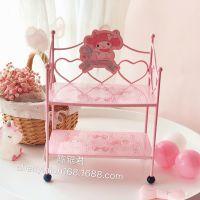 melody美乐蒂桌面置物架 少女心卧室化妆品两层收纳架 娃娃展示架
