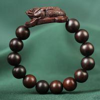 雷击枣木雕刻金蟾手串 黑枣木貔貅男士手链 雷劈木转运木质佛珠