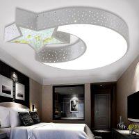 雷.士照明现代简约吸顶灯圆形卧室灯创意星星月亮儿童房间灯具灯