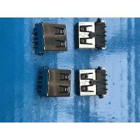 USB AF 4Pin 母座 90度 贴片 两脚直插 DIP+SMT 弯脚直边 黑色胶芯