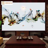 无缝大型壁画厂家新中式抽象水墨艺术装修公司客厅卧室背景墙壁布