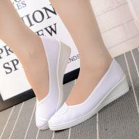 新品老北京布鞋坡跟浅口低帮白色工作护士鞋女士增高鞋厂家
